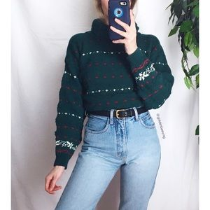 🍂 Vintage Forest Green Retro Chunky Printed Knit